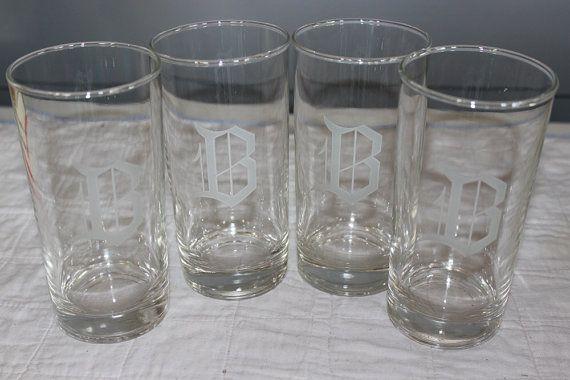 Monogram B Glasses Set of Four 4 1960s Vintage by AmeliesFarmhouse, $16.00