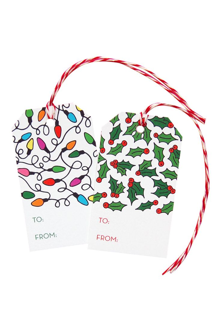 Spruce up your holiday gifts with this patterned gift tag. This tag features a hand-drawn Christmas lights pattern. Full pattern coverage on the back of the tag. Red and white twine is included (pleas