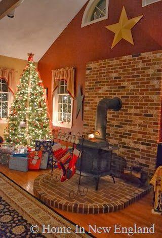 Love the brick hearth under the wood stove...