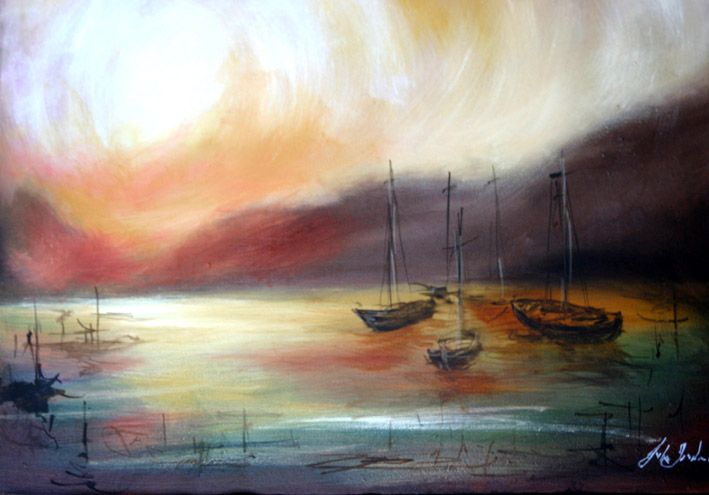 Toni's Sunset - Oil Painting by Julie Sneeden