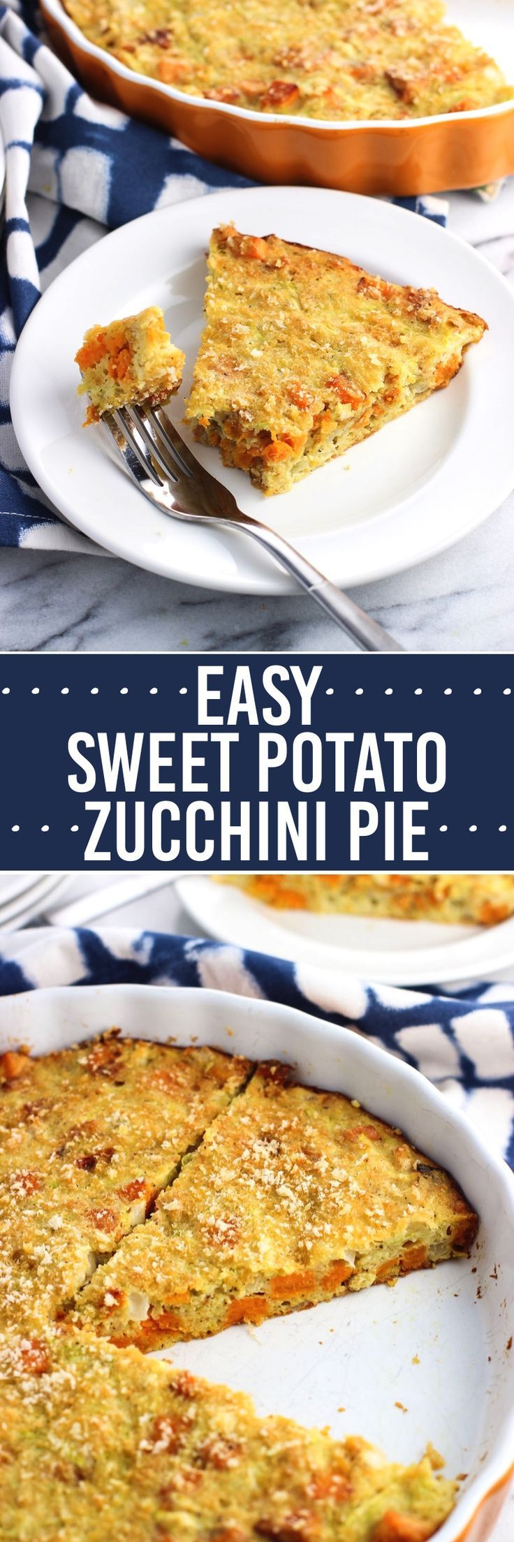 This easy sweet potato zucchini pie recipe has sweet potato chunks, onion, and cheese. It makes its own crust as it bakes for a simple meal any time of day.