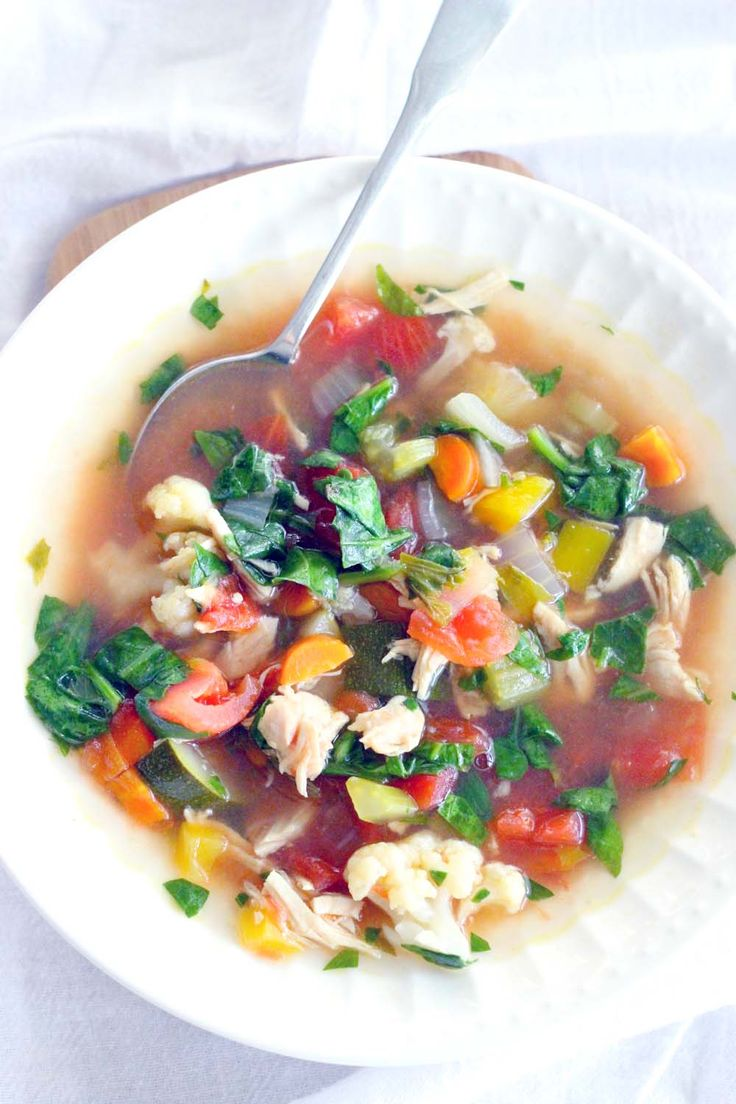 This simple Detox Chicken and Vegetable Soup is SUPER tasty but will leave you feeling amazing. It's healthy, you can make it in your slow cooker, and it's vegan friendly with a few substitutions! Whole30/Paleo approved and freezer friendly.