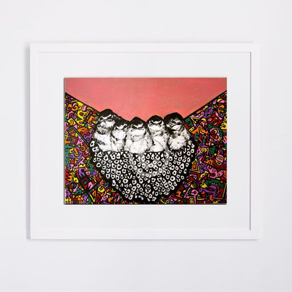 """Limited Edition Art Print, 8.5"""" x 11"""",  QUIRKY BIRDS NEST,   €26.10  AVAILABLE HERE: https://www.etsy.com/ie/listing/213521662/limited-edition-art-print-85-x-11-quirky?ref=shop_home_active_7"""