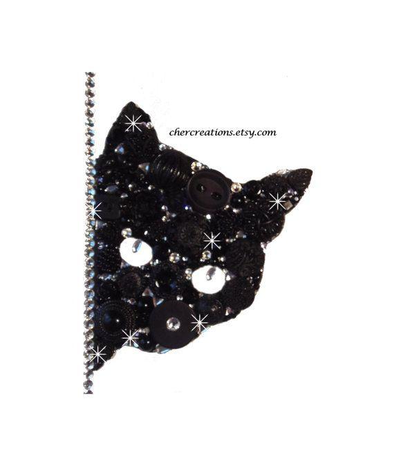 PEEKING CAT 6X8 Button Art, Button Artwork ooak, diy, black, white, Swarvoski, buttons, crystals, art, wall art, feline, pets