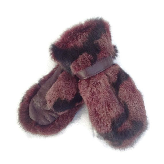 FREE SHIPPING Leather gloves genuine fur colored by TrixiCookies