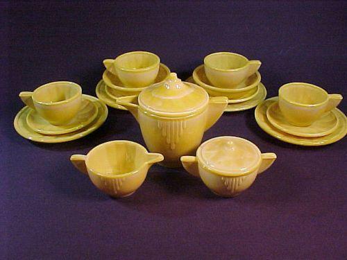 Akro Agate Large Interior Panel Opaque Yellow Child Dish Tea Set | eBay