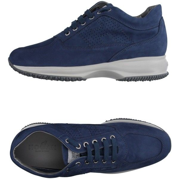 Hogan Low-tops & Trainers (975 SAR) ❤ liked on Polyvore featuring shoes, sneakers, blue, low profile sneakers, animal trainer, round toe sneakers, low top and leather shoes