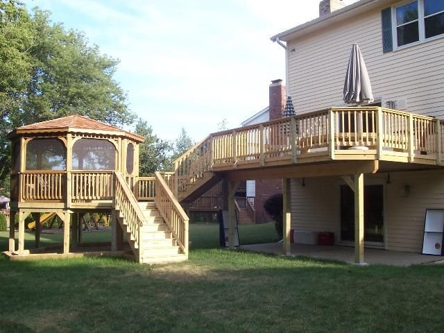 This is a full view of the Gazebo kit and custom Deck project in Libertyville, IL. Archadeck is Chicagolands premier Gazebo Builder.