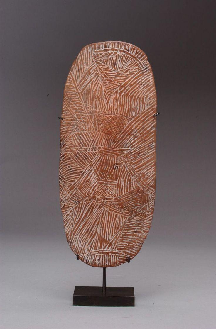 Aboriginal Ceremonial Platter, Coolamon, Australia - Circa 1930s - Glass-incised Wood | Andres Moraga Textile Art :: Australian Aboriginal Coolamon