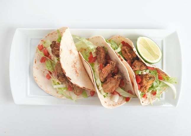 "Oyster Tacos ""Tacos should have a theme,"" says chef Eddie Hernandez..."