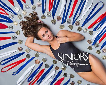 Medallica: Swimming senior picture ideas for girls with medals #seniorpictureideas #seniorsbyphotojeania
