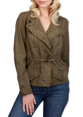 Lucky Brand Women's Asymmetrical Military Jacket - Dark Sage - Xs