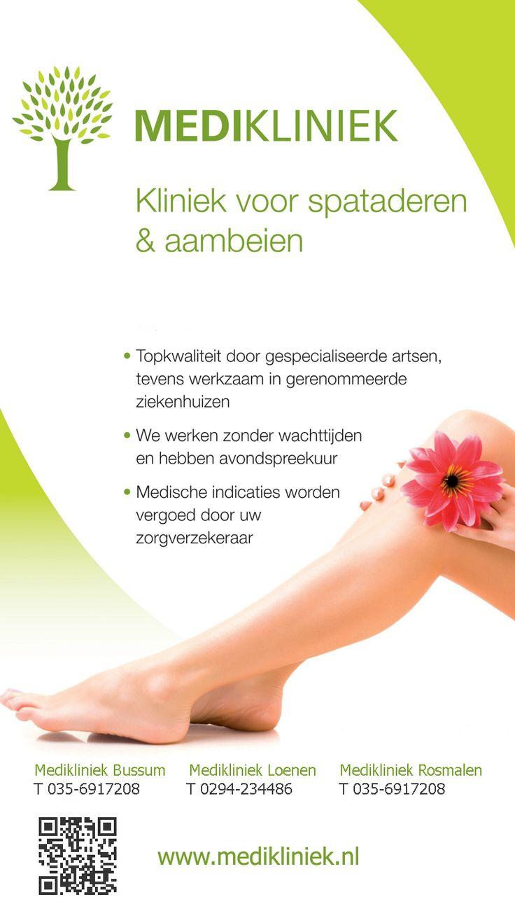 Kliniek voor spataderen & aambeien  Topkwaliteit door Gespecialiseerde artsen, Gerenommeerde Ziekenhuizen, Vergoeding door Verzekeraar. #Bussum #Loenen www.medikliniek.nl