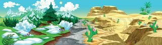 View on mountains and desert. Vector cartoon illustration | vector_preview_title | Colourbox on Colourbox