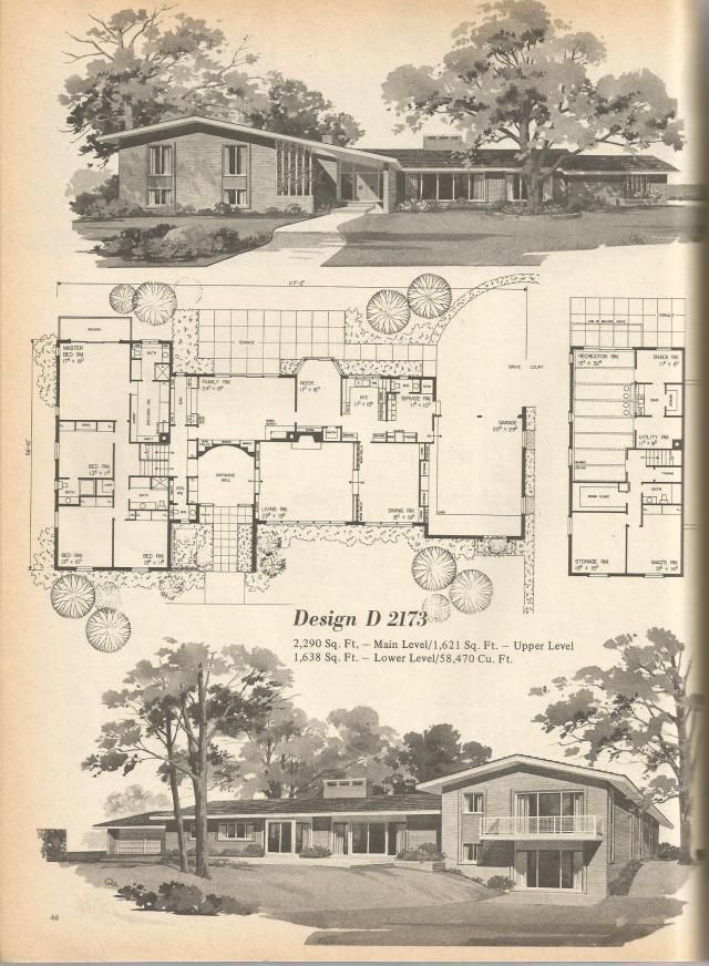 64 best mid century architecture images on pinterest for Vintage home floor plans