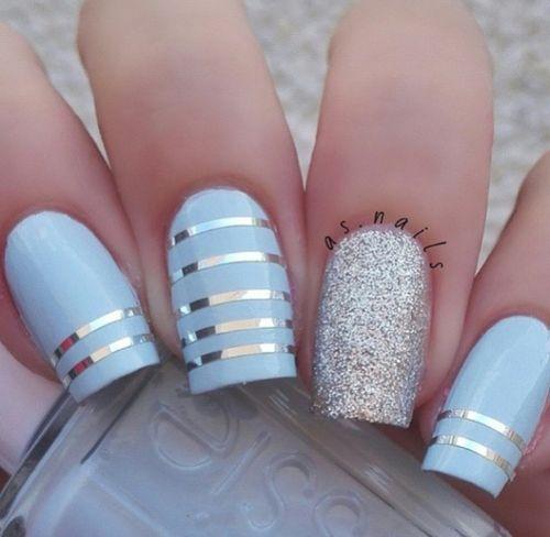 Image de nails, blue, and nail art