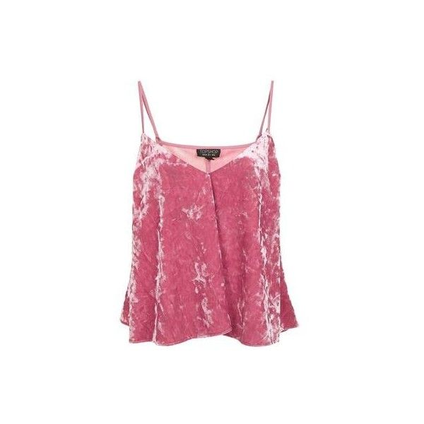 TopShop Velvet Swing Pink Cami Top ($48) ❤ liked on Polyvore featuring pink, pink camisole, strappy cami, pink cami and velvet camisole