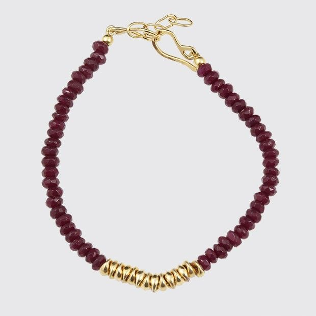 Red Jade and gold beads Bracelet, beads are sterling silver plated in 24k gold.