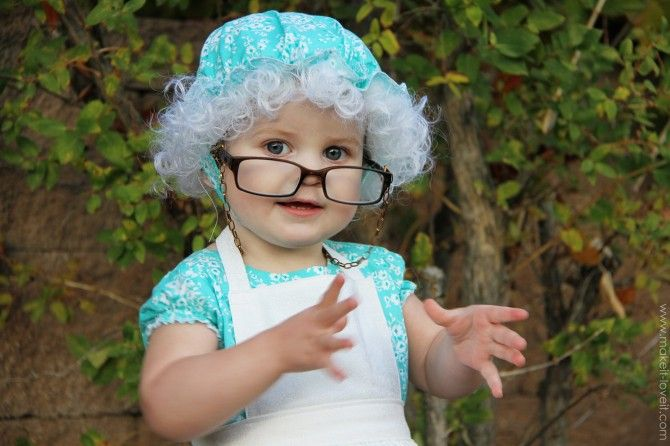 The Grandma Wig with the cap and white hair is really cute.