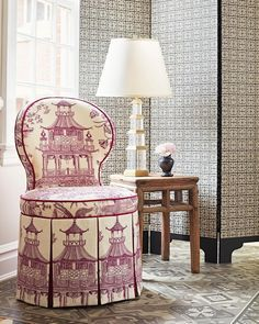 Chinoiserie Toile, the Ming Lamp and Palace Fret wallpaper