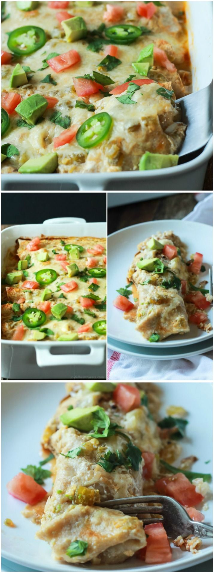 Easy Chicken Enchilada Recipe topped with a Creamy Green Chili Sauce that's made with Greek Yogurt, smoked paprika, and spicy green chilis! An easy weeknight meal that beats going out!   joyfulhealthyeats.com #recipes