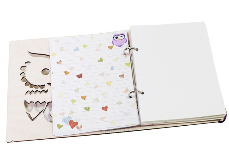 Personalized Owl wooden cover notebook A5 lined ruled by ZabavaBox