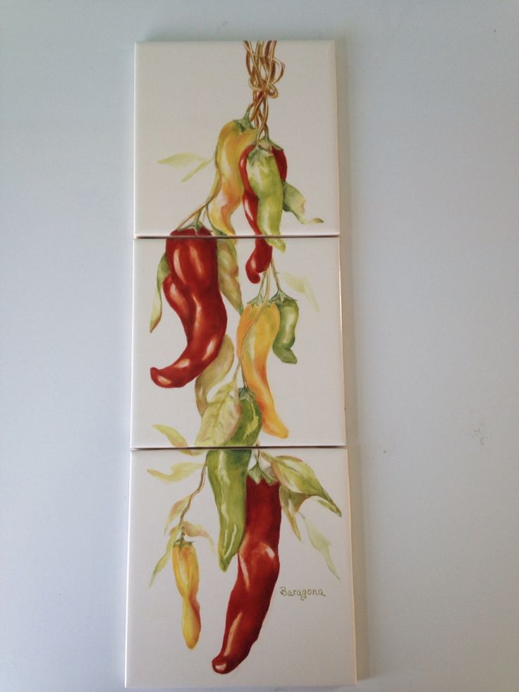 Red hot peppers/tiles/art/hand painted by Cynthia Baragona