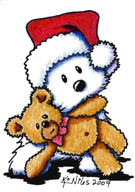 Santa Westie Terrier by Kim Niles