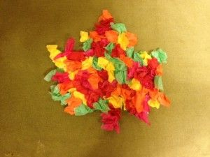 Colorful fall leaves!  Use this craft for working on colors, articulation or multistep directions (or just to have fun scrunching)!
