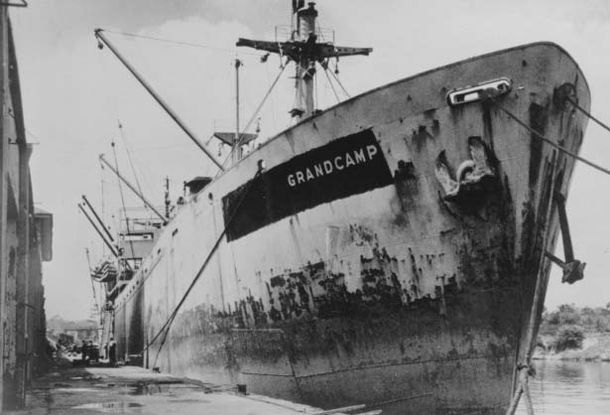 SS Grandchamp: On 16 April 1947, the French registered ex-liberty ship caught fire and exploded dockside while being loaded with ammonium nitrate at Texas City, Texas. In what came to be called the Texas City Disaster an estimated 581 people, including 28 firefighters, were killed and 5,000 were injured.