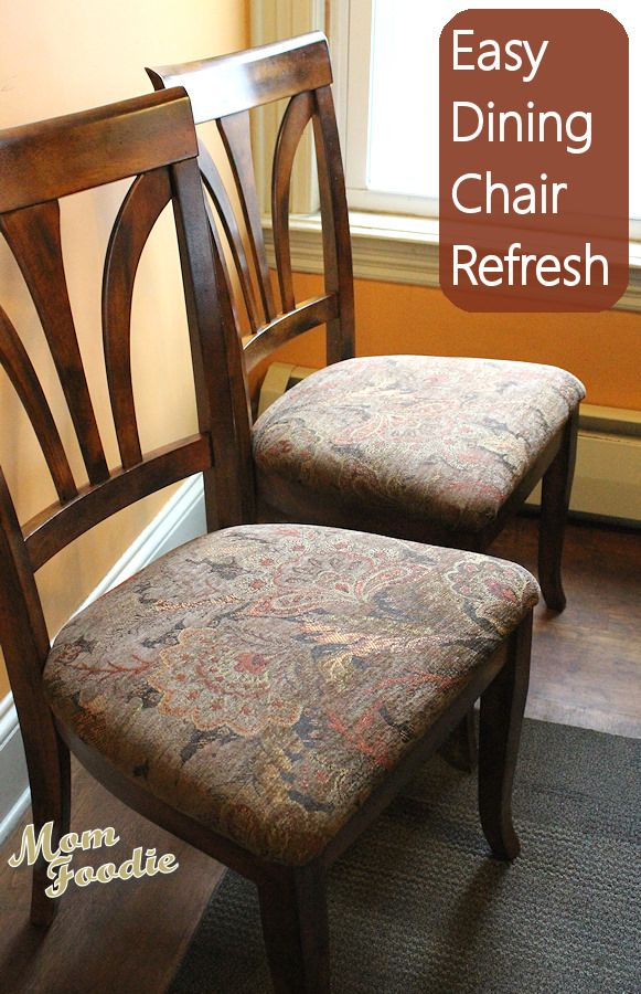 Reupholstering Dining Chairs ~ an easy inexpensive way to spruce up your home before the holidays