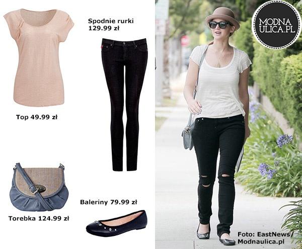 Jennifer Lawrence - laureatka Oscara 2013 dla najlepszej aktorki pierwszoplanowej. Jak wam się podoba jej casualowa stylizacja? Czarne rurki z przecięciami, kremowy top, mała niebieska torebka i czarne baletki ze zdobieniami.