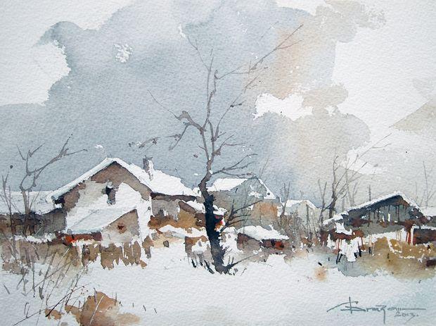 Watercolour-Acuarela-Corneliu-Dragan-Targoviste-peisaj-rural-15