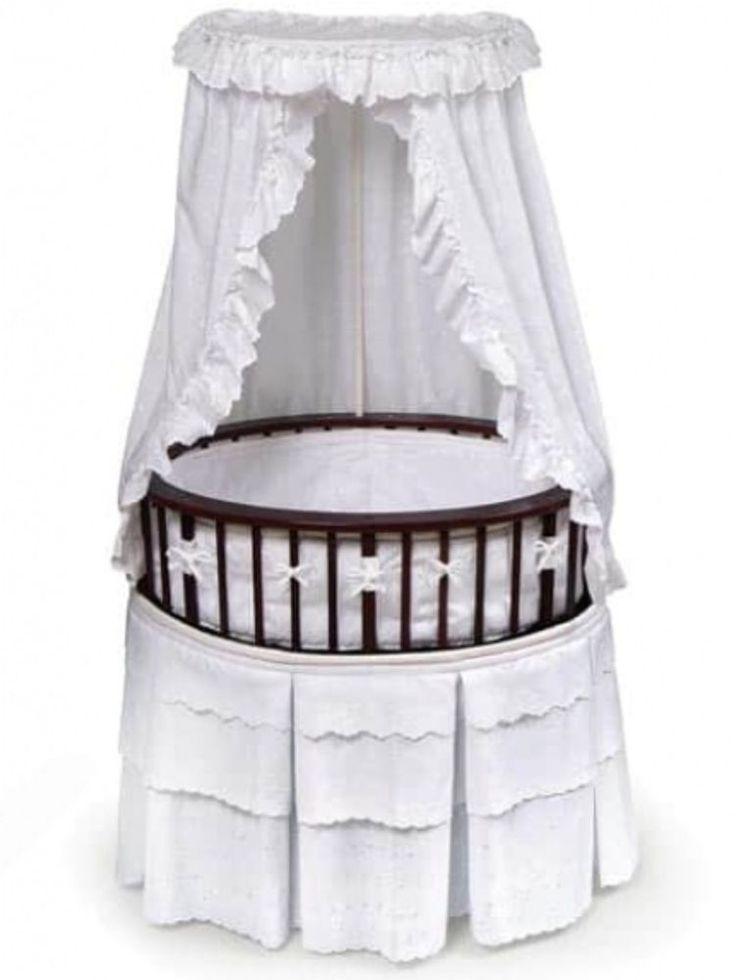 Cherry Elite Traditional Oval Bassinet With White Eyelet Bedding Nursery Decor #nursery #furniture #bedding #baby #bassinet #whiteeyelet #cradles