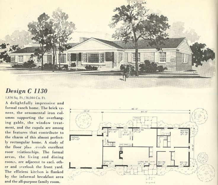 309 best retro dwellings images on pinterest vintage for 1960 ranch house plans