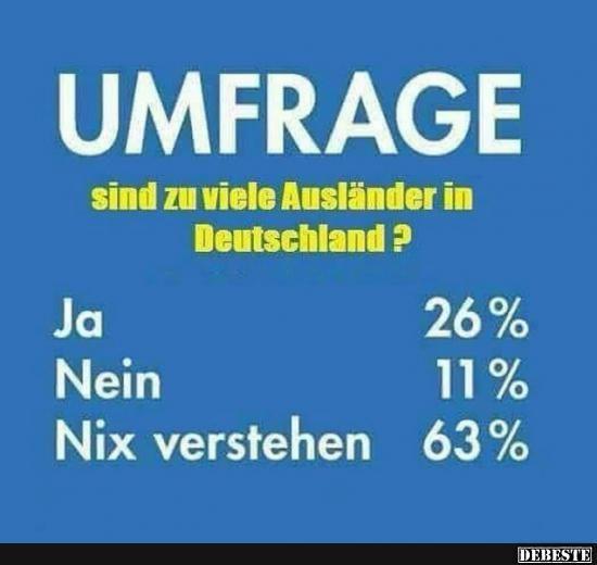 Umfrage.. sind zu viele Ausländer in Deutschland?