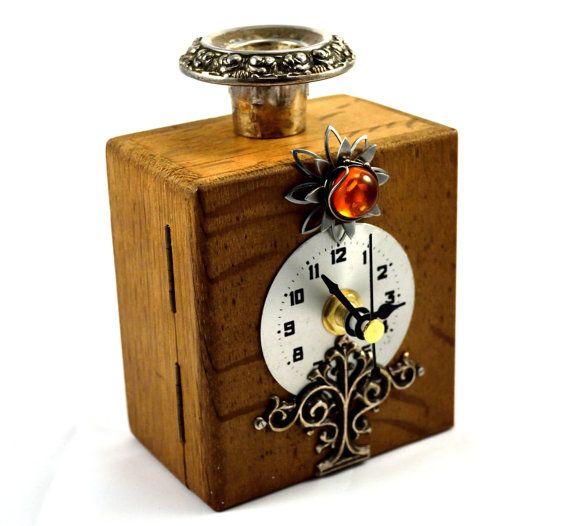 Small Clock, Candle Holder, Victorian Clock, Desk Clock, Steampunk