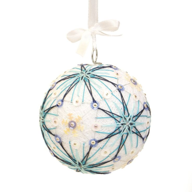 Christmas ornment inpired on Japanese art temari. Pattern - LET IT SNOW. Handmade by JoeyART