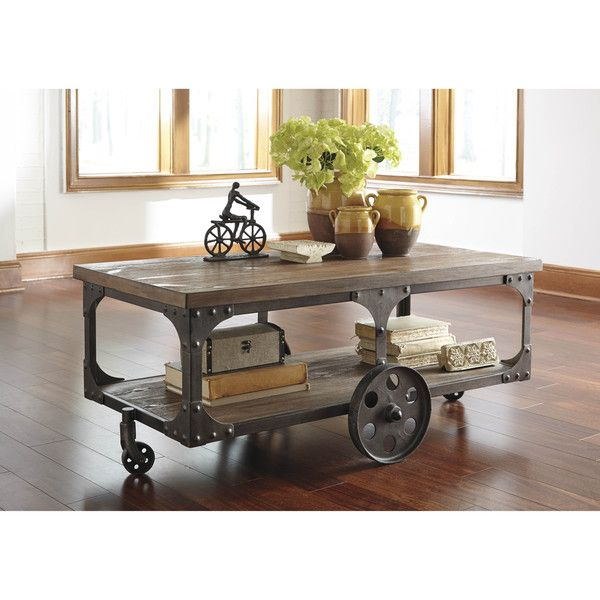 SB Signature Design by Ashley Vennilux Gray/Brown Rectangular Cocktail Table @ Overstock.com for $543.99.  From the Industrial Living Room Ideas from Overstock.com.