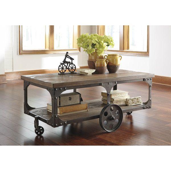 Подпись Дизайн Эшли Vennilux Серый / Коричневый прямоугольный Чайный столик