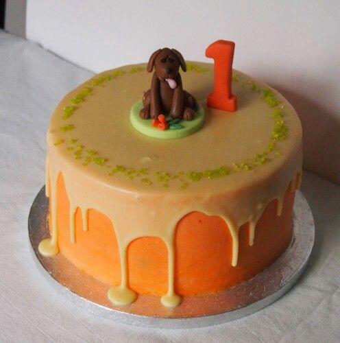 White chocolate ganache frosted birthday cake