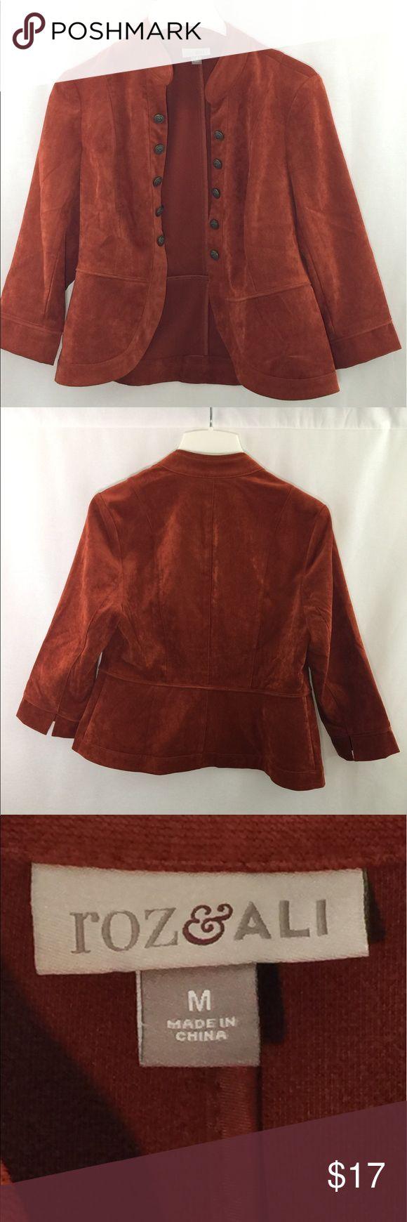 Roz & Ali blazer Roz & Ali burnt orange blazer . Great condition . comfortable. Measurements include in pictures Roz & Ali Jackets & Coats Blazers