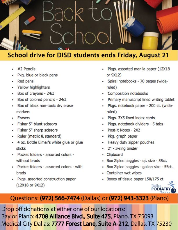 Our back to school supply drive ends soon. See how you can help!  http://www.dallaspodiatryworks.com/