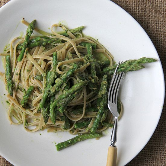 Asparagus Pesto with Whole Wheat Pasta | Pesto is traditionally made with basil, but here, asparagus does the heavy lifting.