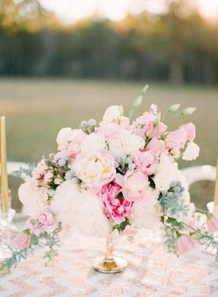 Pink Peonies and Gold Chevron Wedding Centerpiece