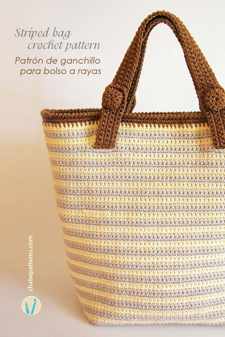 Crochet pattern for striped bag with two sets of handles, photo tutorial and row by row instructions/ Patrón de gancho para bolso a rayas con dos pares de asas, foto tutorial e instrucciones paso a paso by Chabepatterns