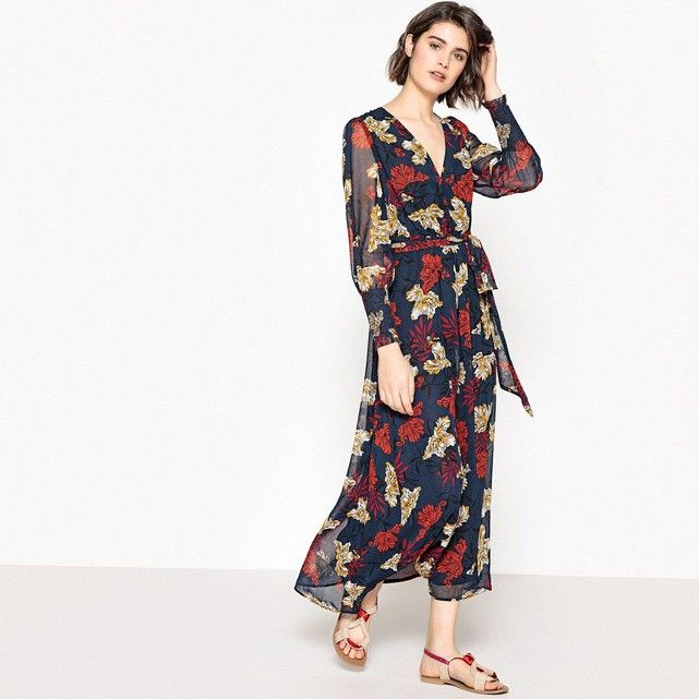 robe longue v oile fond marine la redoute