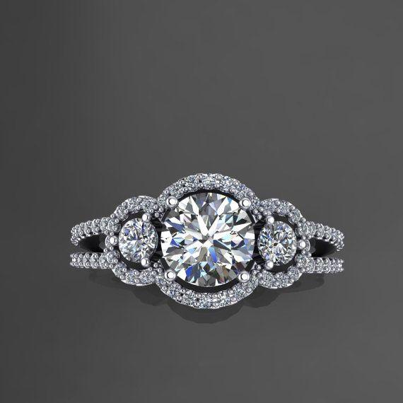 engagement rings ,14k white gold diamond engagement ring with moissanite center.wedding ring style 31WDM