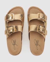 Sandalias planas de mujer Alpe de piel doradas
