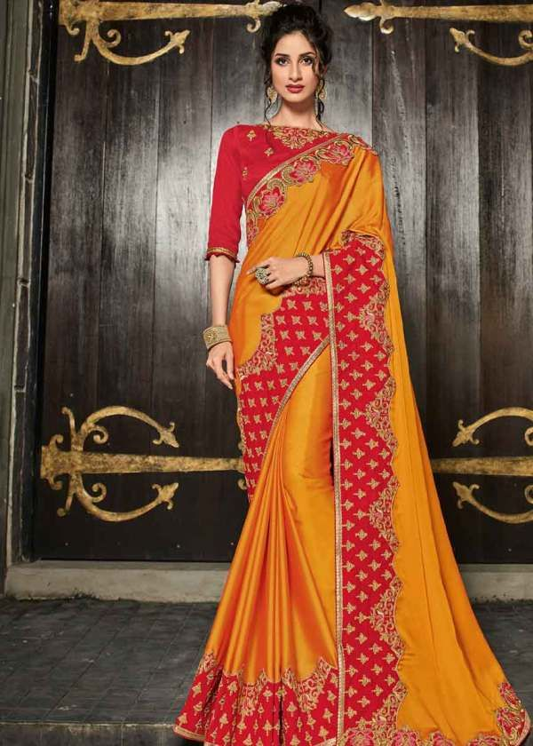 493148cdf85 Gorgeous Orange Color Heavy Embroidered Bright Georgette saree in ...
